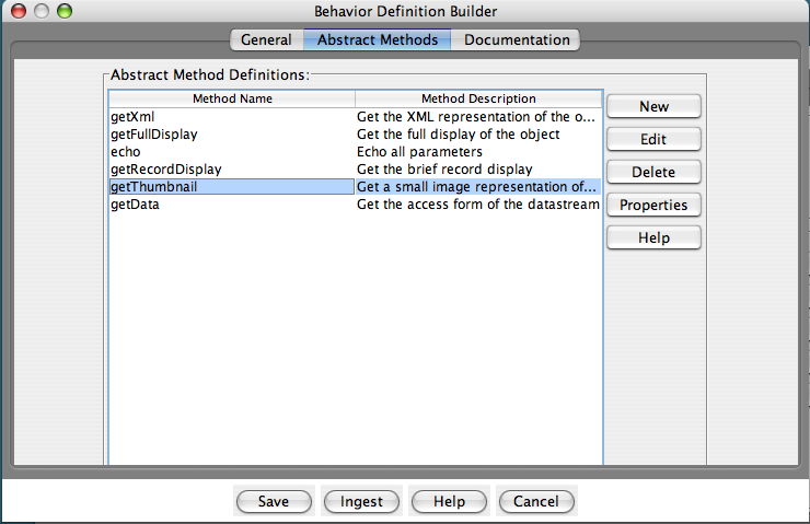 "Fedora Admin Behavior Definition Builder ""Abstract Methods"" pane"