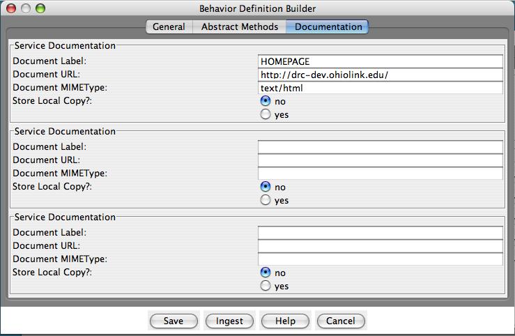 "Fedora Admin Behavior Definition Builder ""Documentation"" pane"