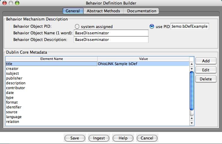 "Fedora Admin Behavior Definition Builder ""General"" pane"