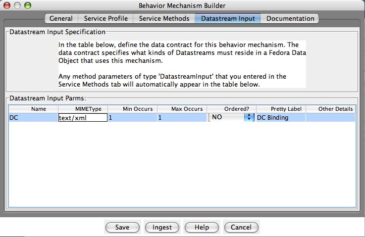 "Fedora Admin Behavior Mechanism Builder ""Datastream Input"" pane"