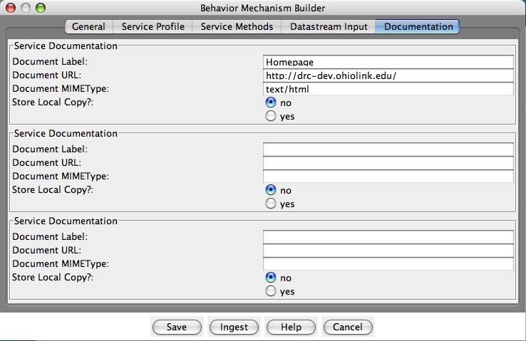 "Fedora Admin Behavior Mechanism Builder ""Documentation"" pane"