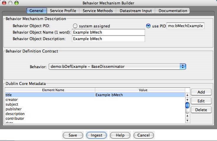 "Fedora Admin Behavior Mechanism Builder ""General"" pane"