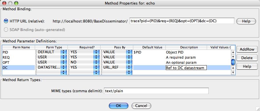 "Fedora Admin Behavior Mechanism Builder ""Service Methods"" Definitions for ""echo"" Method"