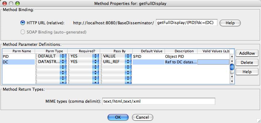 "Fedora Admin Behavior Mechanism Builder ""Service Methods"" Definitions for ""getFullDisplay"" Method"