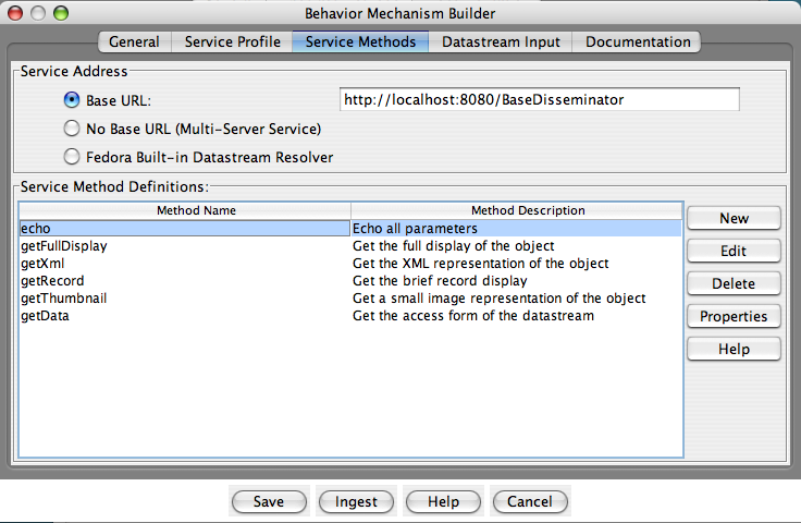 "Fedora Admin Behavior Mechanism Builder ""Service Methods"" pane"