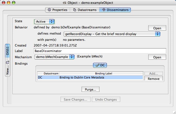"Fedora Admin Sample Object's ""Disseminators"" pane completed"