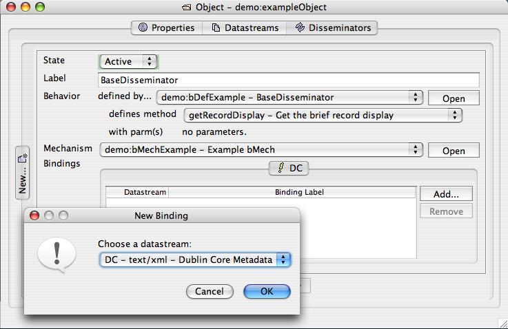 "Fedora Admin Sample Object's ""Disseminators"" pane in progress"