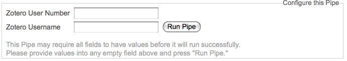 Yahoo! Pipe Configuration