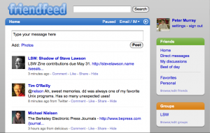 FriendFeed interface before Greasemonkey/Stylish changes
