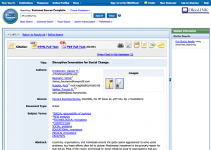 EBSCOhost screen for Christensen article
