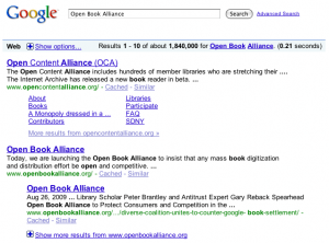 Google Search for Open Book Alliance