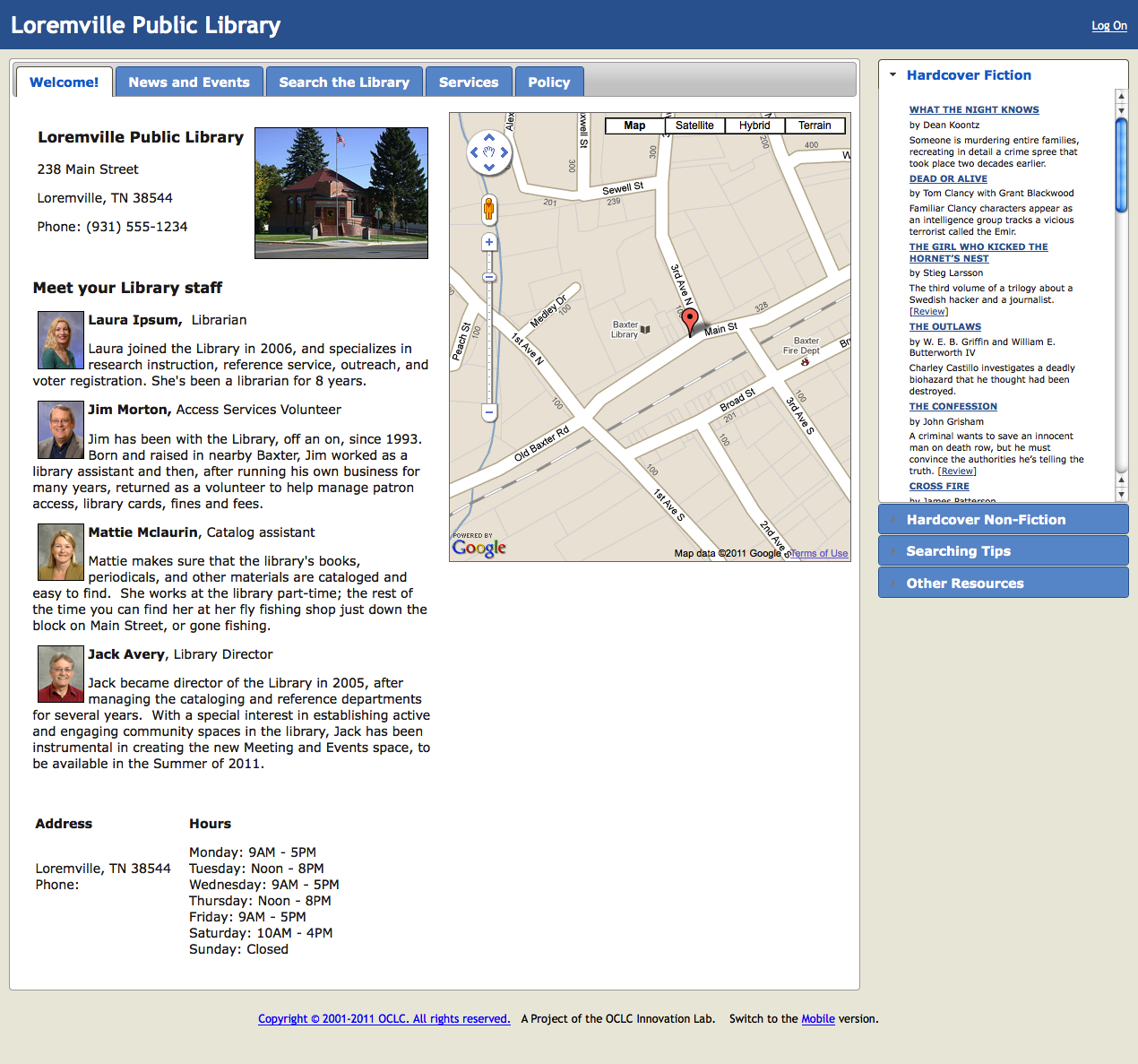 Screenshot of Sample Library Website
