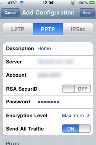 iOS PPTP VPN Configuration