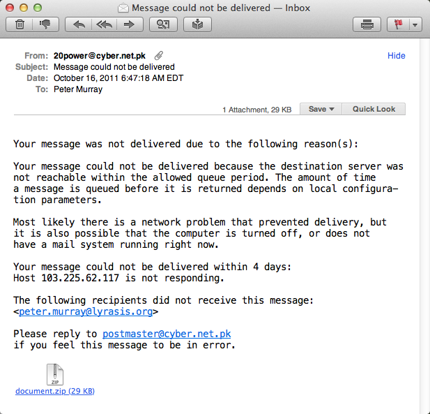 Screenshot of a fake bounced e-mail message.