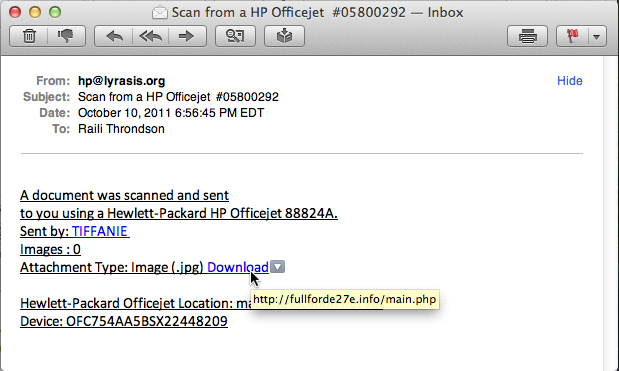Screenshot of a fake e-mail message from a networked scanner.