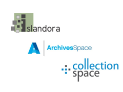Islandora, ArchivesSpace and CollectionSpace logos