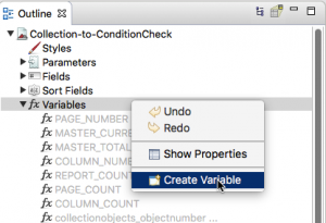 In the Outline, right click on Variables to create a variable.