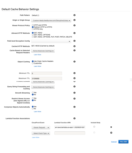 Screen capture of the AWS CloudFront distribution screen